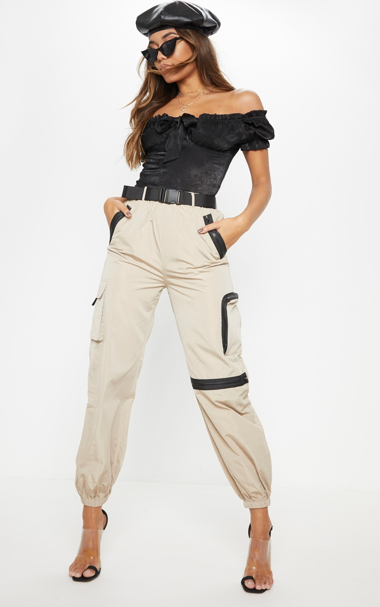 Stone Shell Belted Pocket Detail Joggers 1