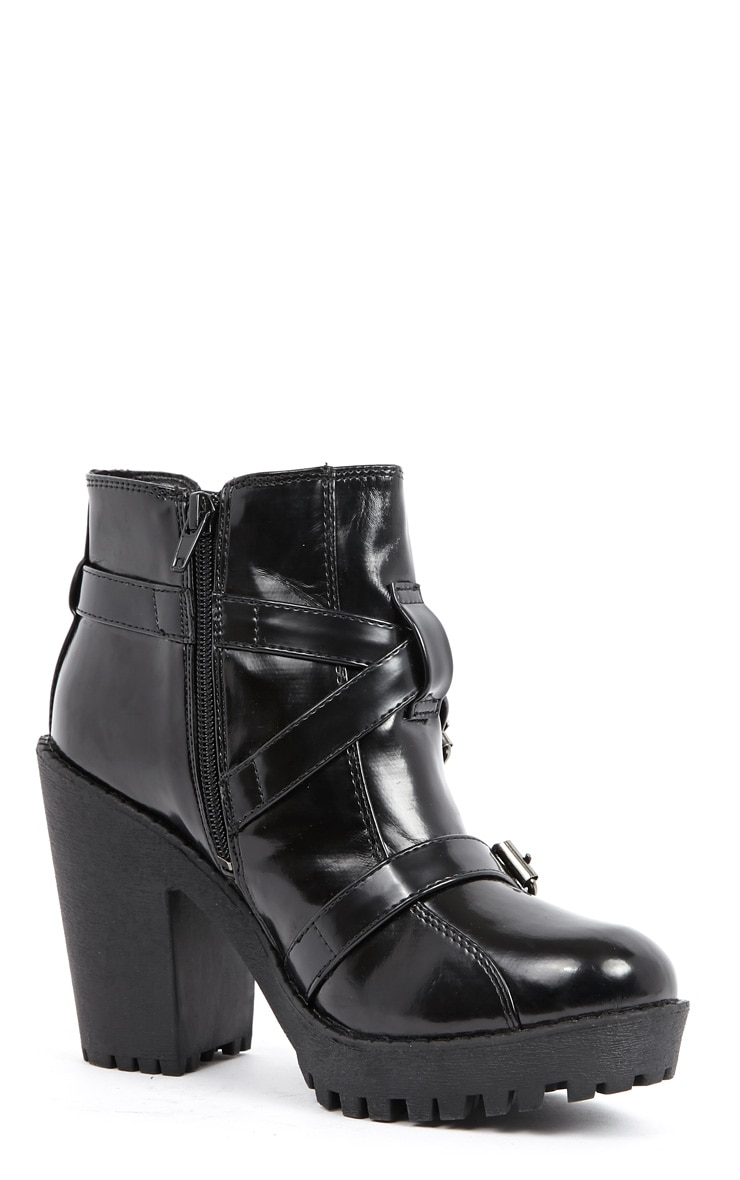 Stacie Patent Chunky Strap Buckle Boots 3
