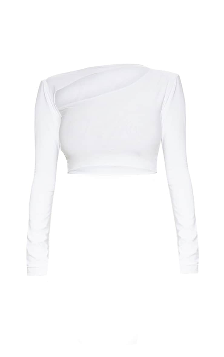 White Cut Out Crop Top 3