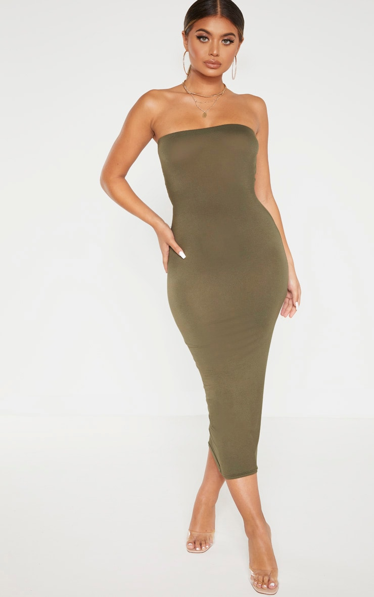 Khaki Bandeau Midaxi Dress 4