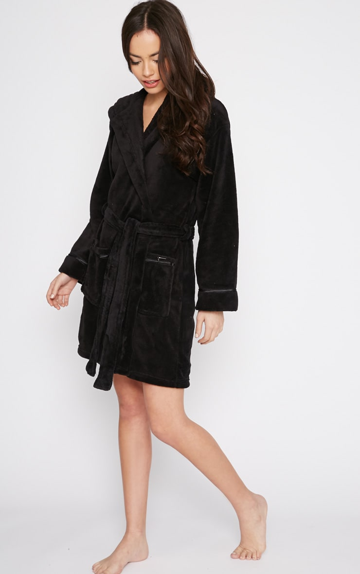 Erin Black Fleece Dressing Gown  3