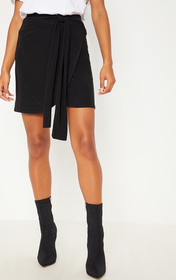 Black Slinky Tie Waist Wrap Skirt- single layer 2
