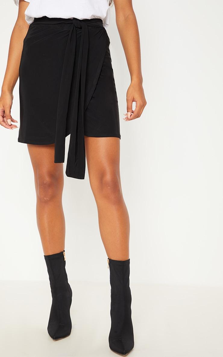 Black Slinky Tie Waist Wrap Skirt 2