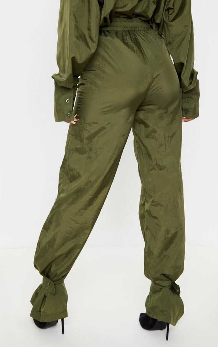Khaki High Waisted Pocket Cuff Detail Pants 4
