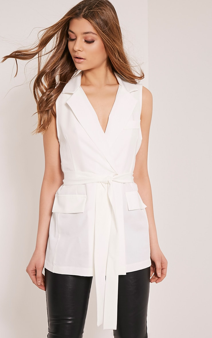 Shauna Cream Sleeveless Tie Blazer 1