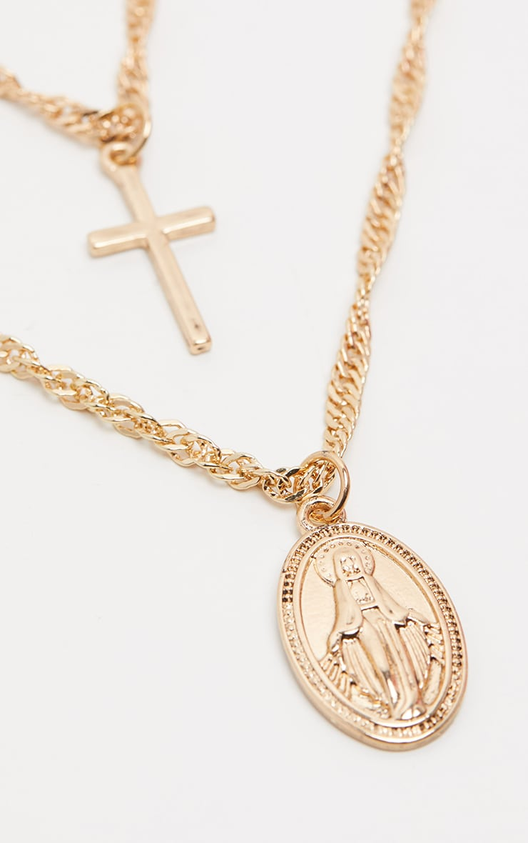 Gold Renaissance Double Layer Cross and Pendant Necklace 3