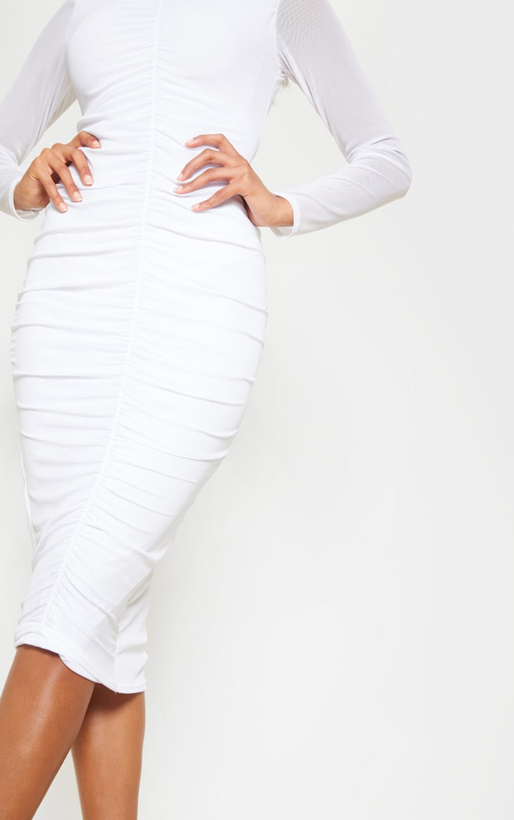 White Mesh Ruched Midi Dress 5