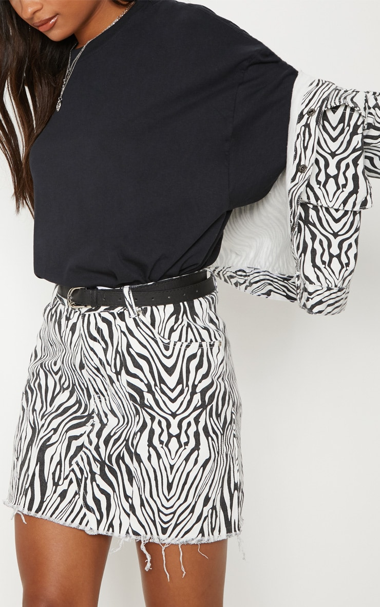 Monochrome Basic Zebra Print Denim Skirt 6