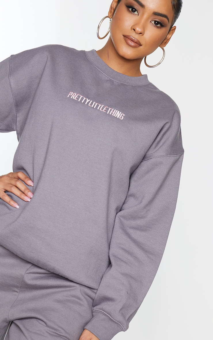 PRETTYLITTLETHING Charcoal Grey Embroidered Slogan Sweater 4