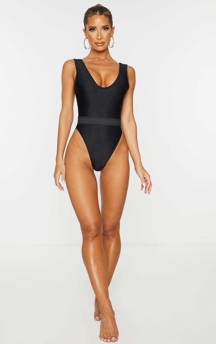 Black  Elastic Waist High Leg Swimsuit 3