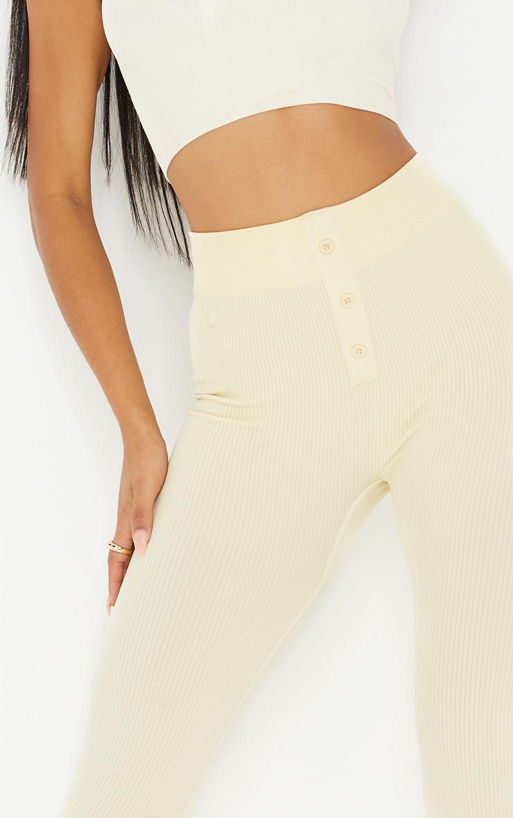 Cream Structured Contour Rib Button Front Leggings 4