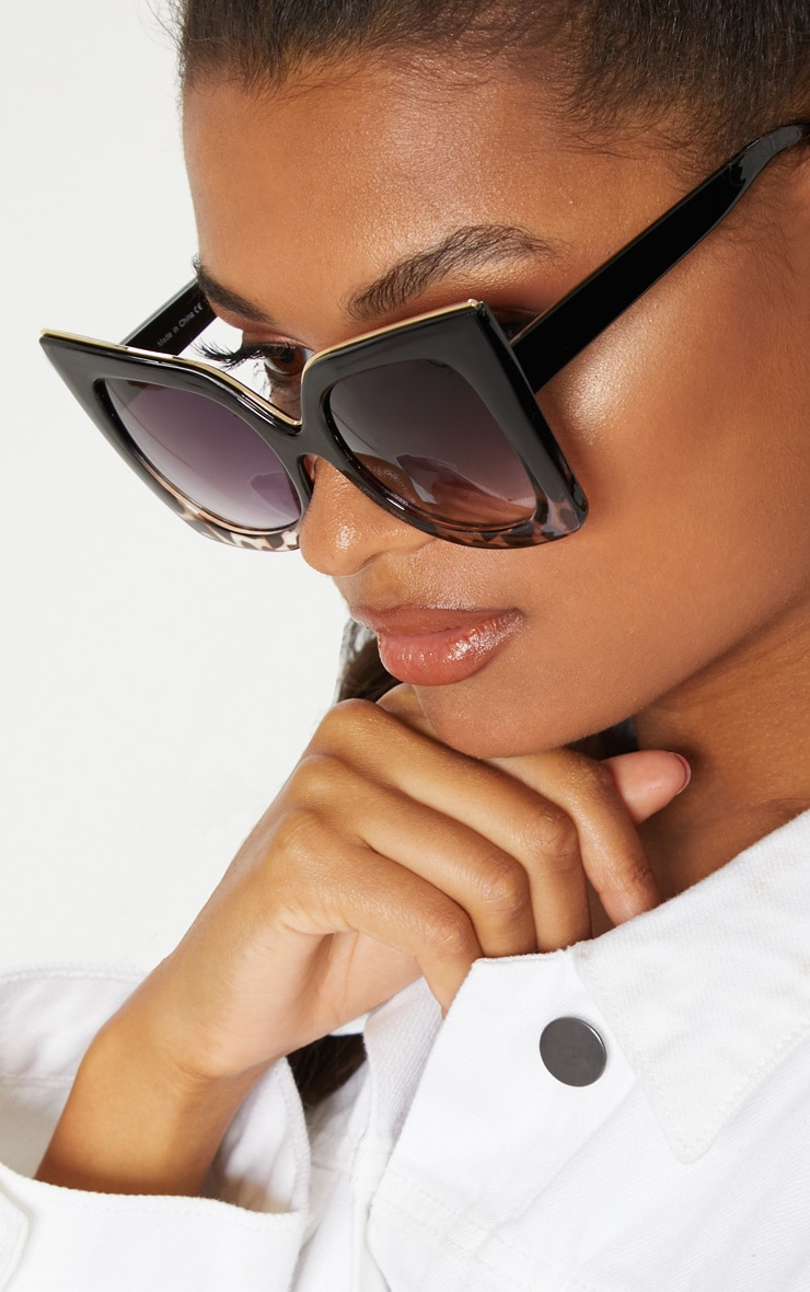Black Half Tortoiseshell Oversized Sunglasses 2