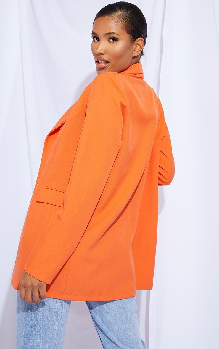Orange Woven Fitted Longline Blazer 2