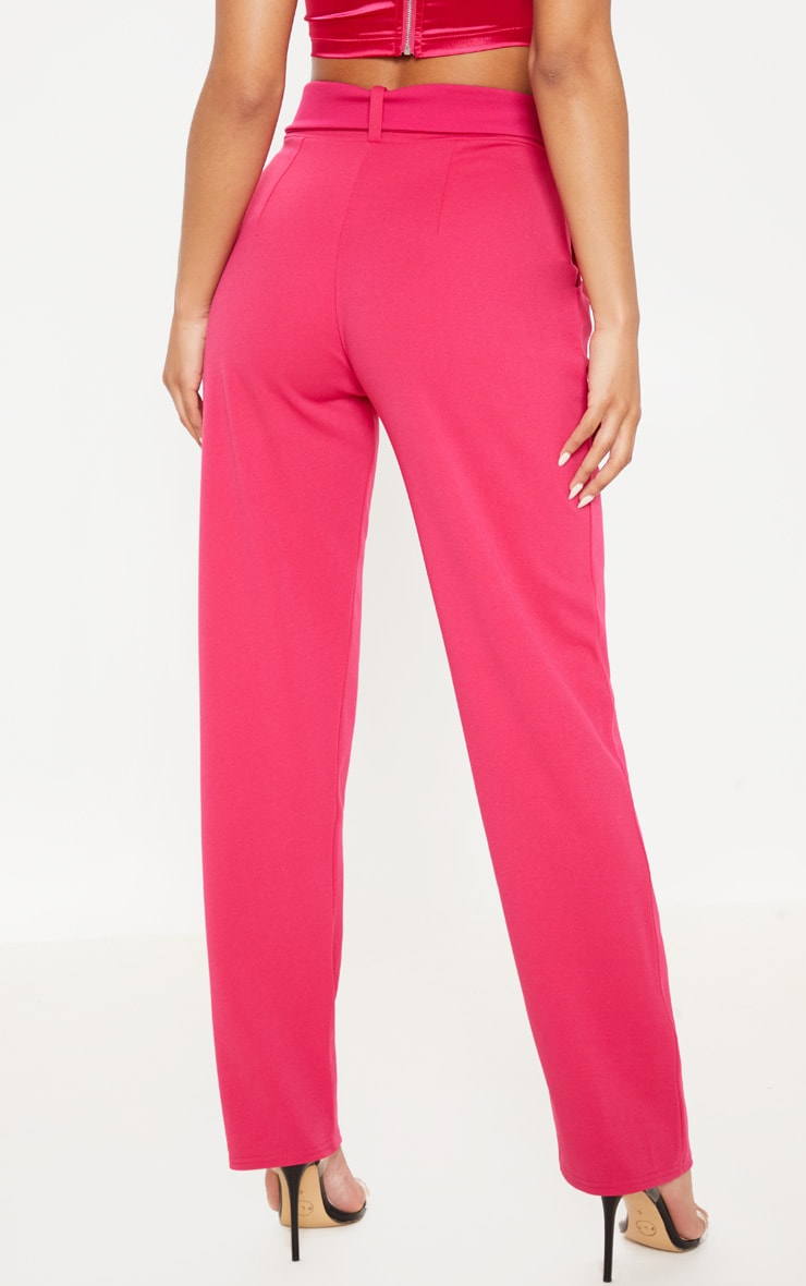 Pink Belted Straight Leg Pants 4