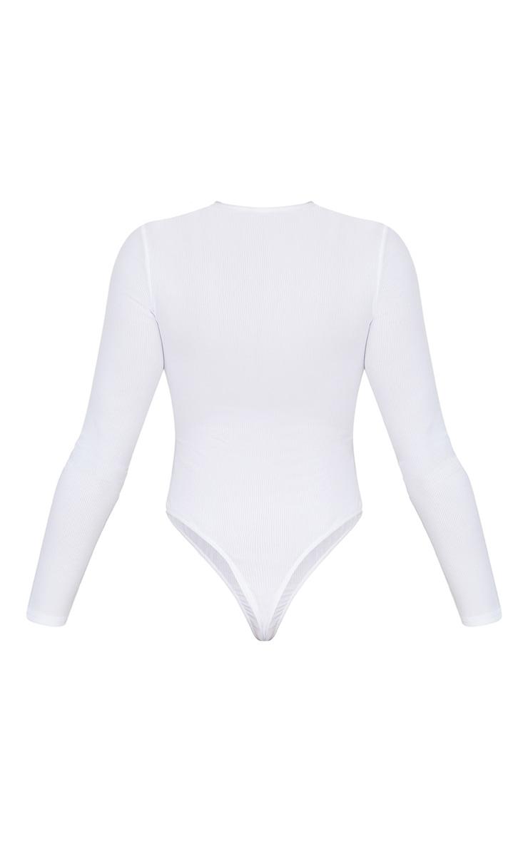 White Popper Front Rib Longsleeve Thong Bodysuit  4
