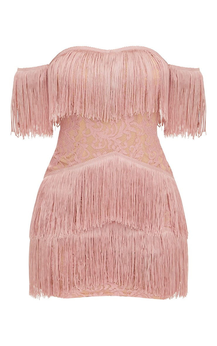 Dusty Pink Bardot Tassel Lace Bodycon Dress 3