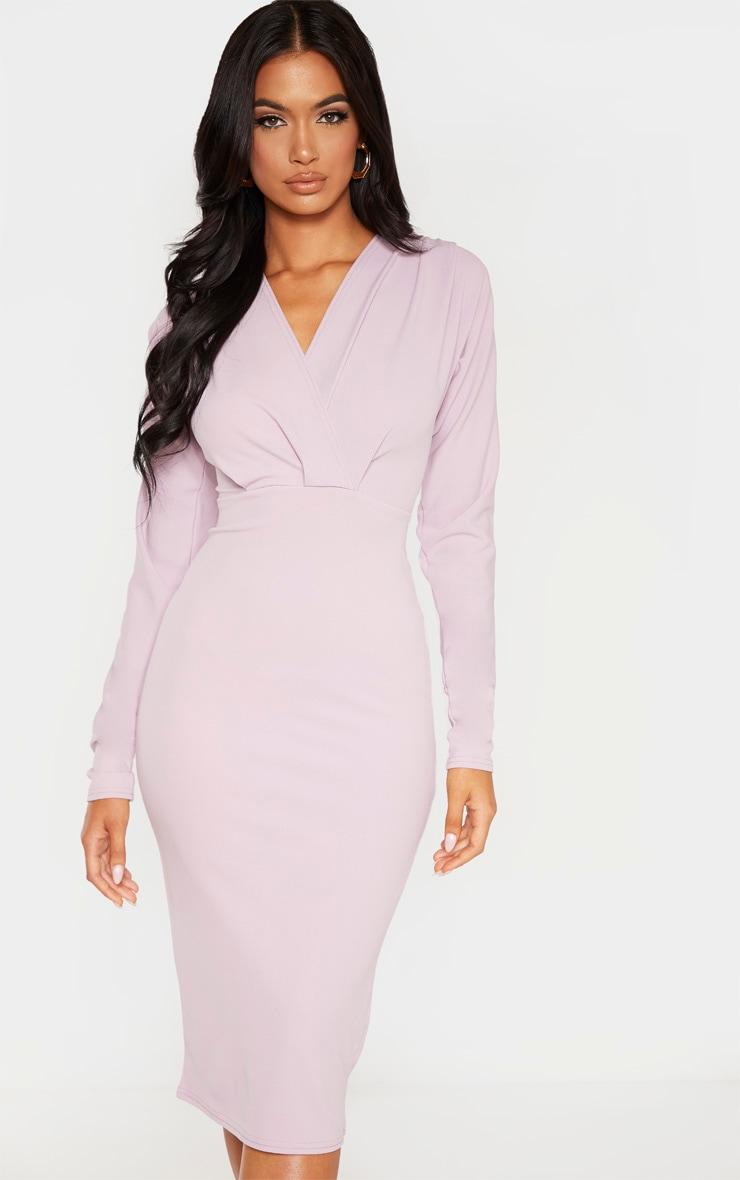 Lilac Wrap Front Midi Dress 1