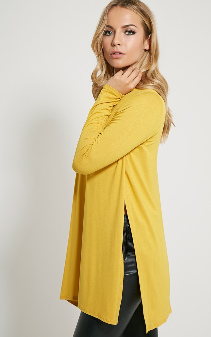 Basic Mustard Long Sleeve Side Split Top 4