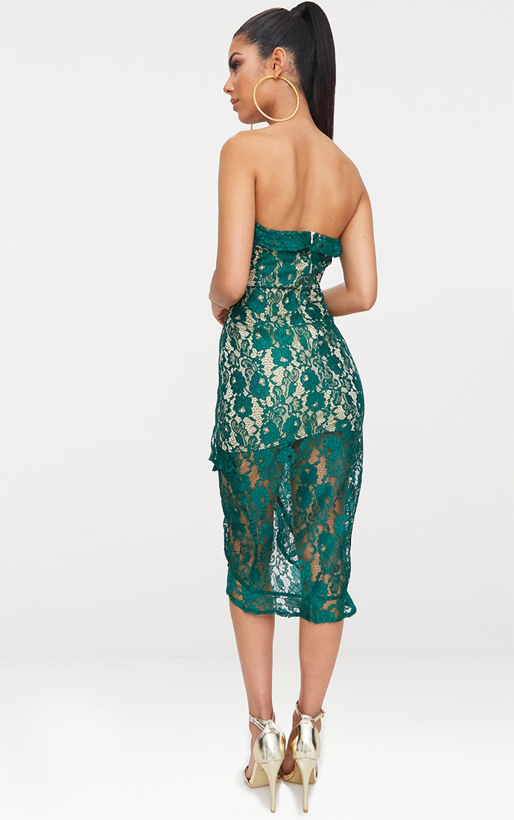 Emerald Green Lace Bandeau Frill Detail Midi Dress  2