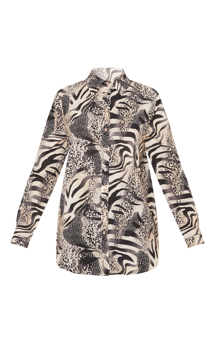 Grey Animal Print Oversized Shirt 3