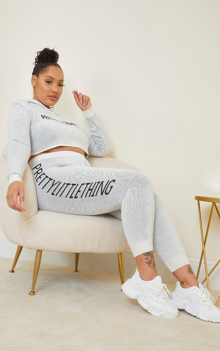 PRETTYLITTLETHING Plus Cream Knitted Joggers 1