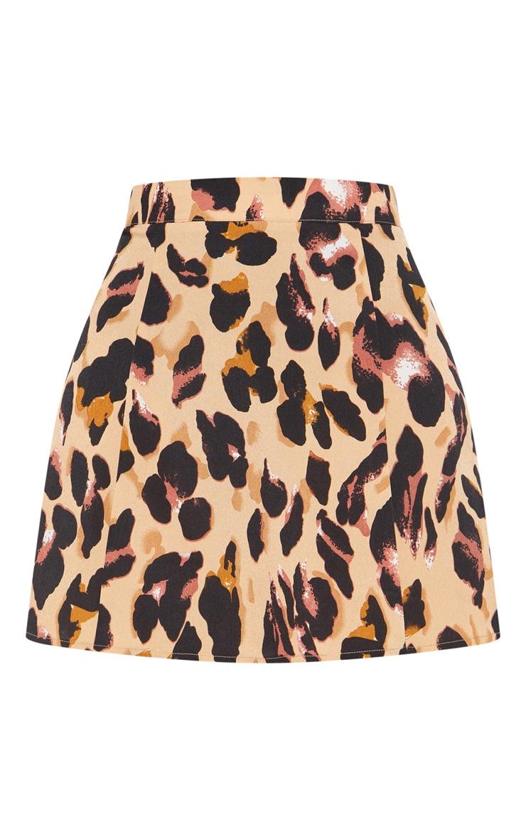 Leopard Print Satin Mini Skirt 3