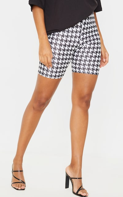 Dogtooth Check Print Cycle Short