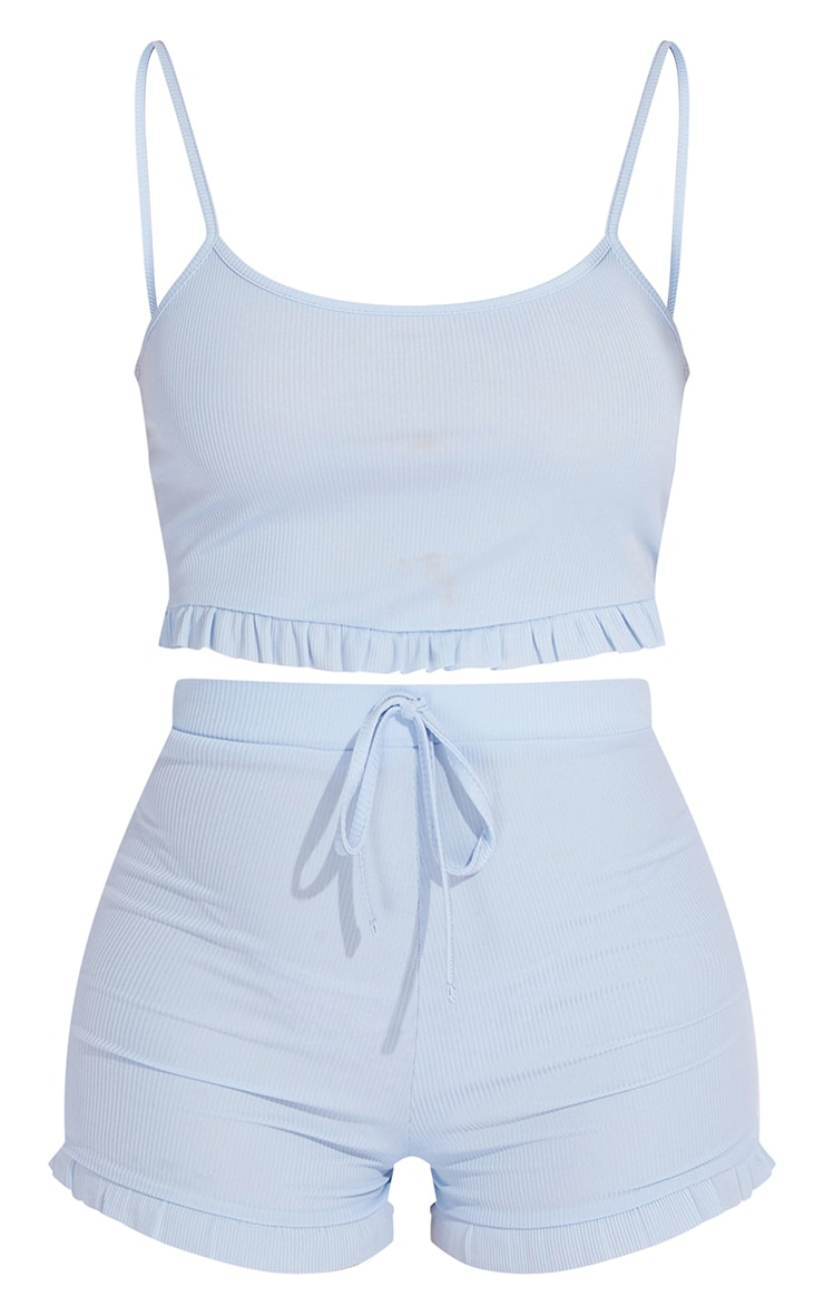 Baby Blue Rib Cropped Frill Vest And Shorts PJ Set 5