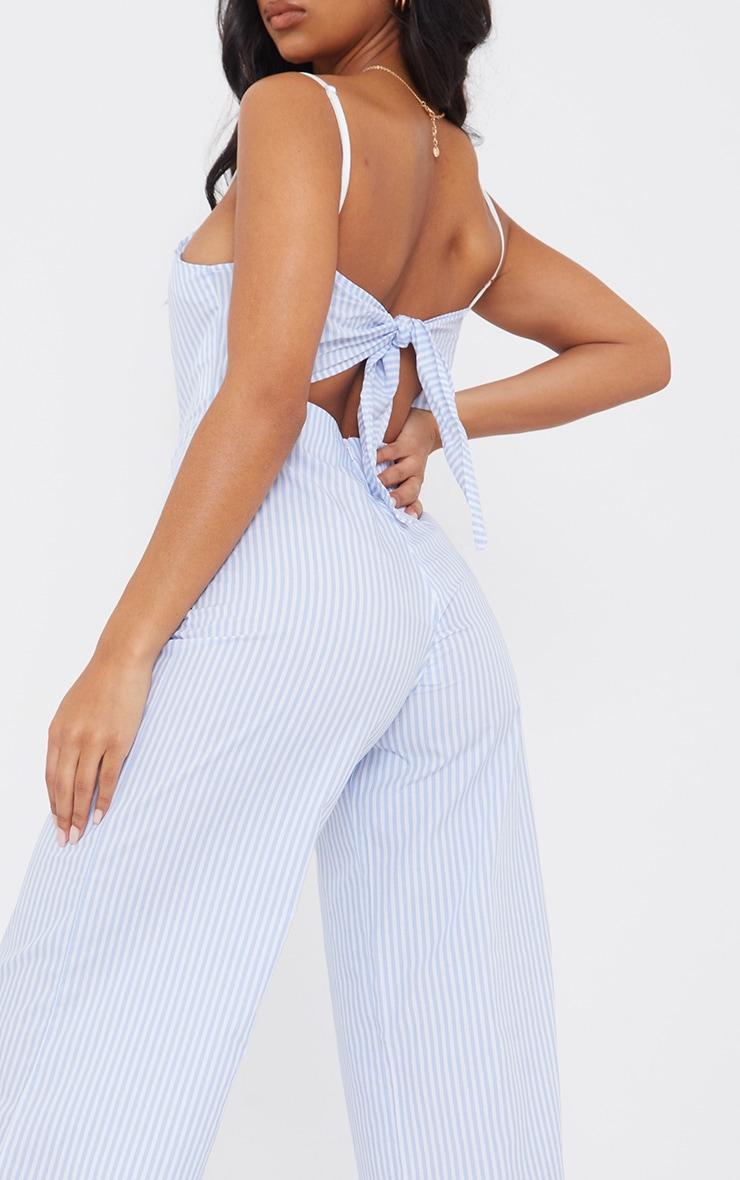 Blue Stripe Tie Back Culotte Jumpsuit 4