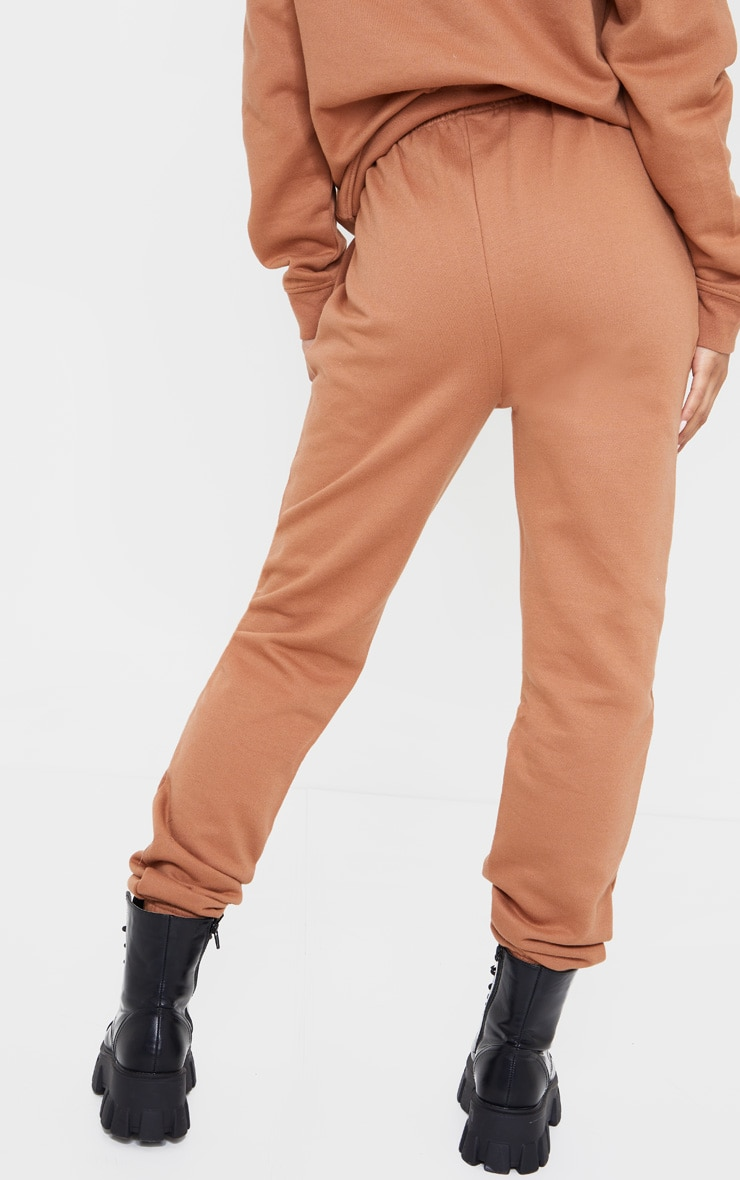 Tan High Waist Wax Toggle Joggers 3
