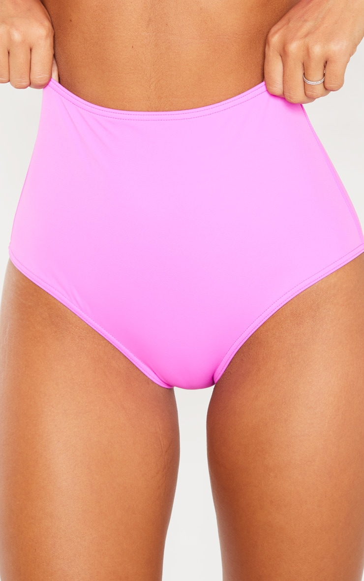 Magenta High Waisted High Leg Bikini Bottom 5