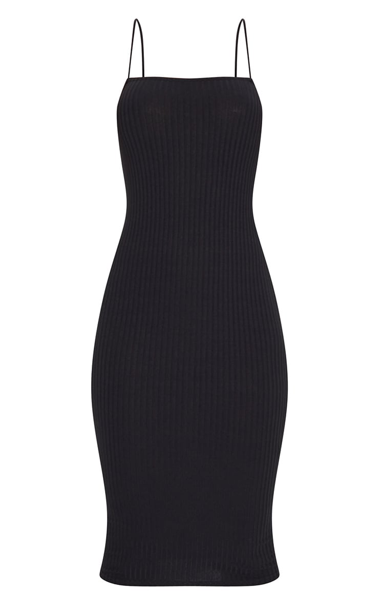 Black Ribbed Strappy Midi Dress 5
