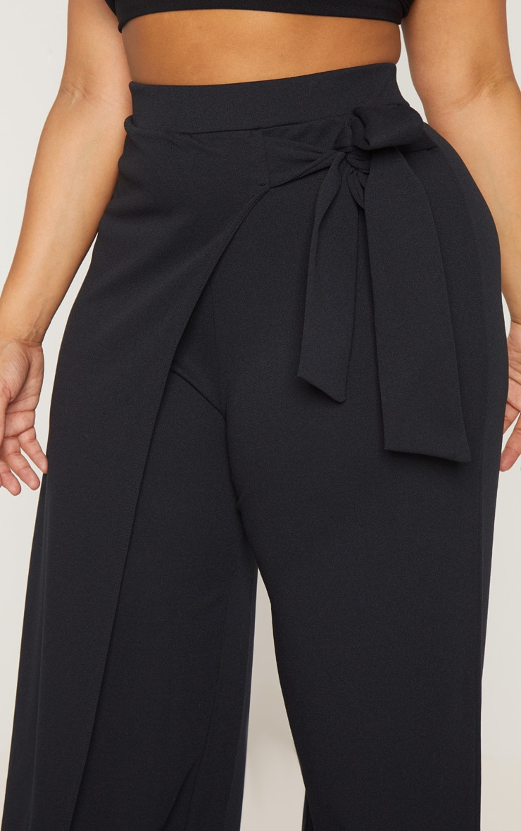Plus Black Wrap Detail Extreme Wide Leg Pants 5