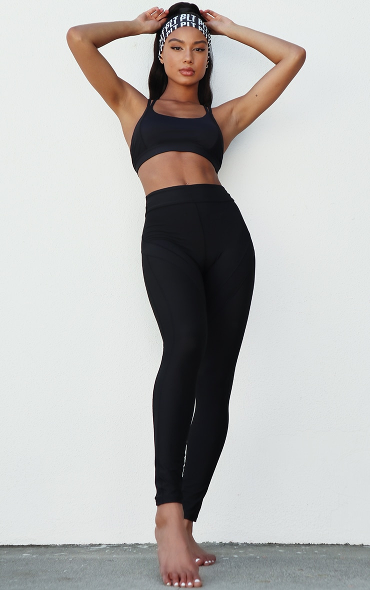 Black Premium Contrast Panel High Waist Gym Legging 1
