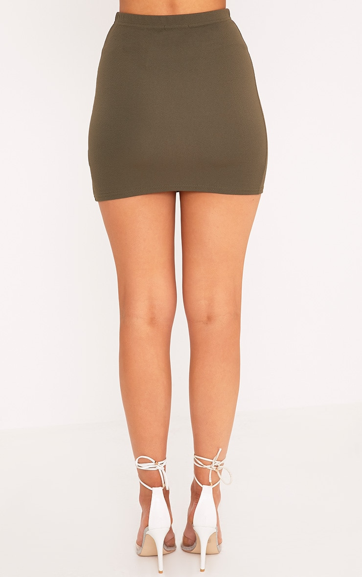 Jemmia Khaki Split Mini Skirt  4