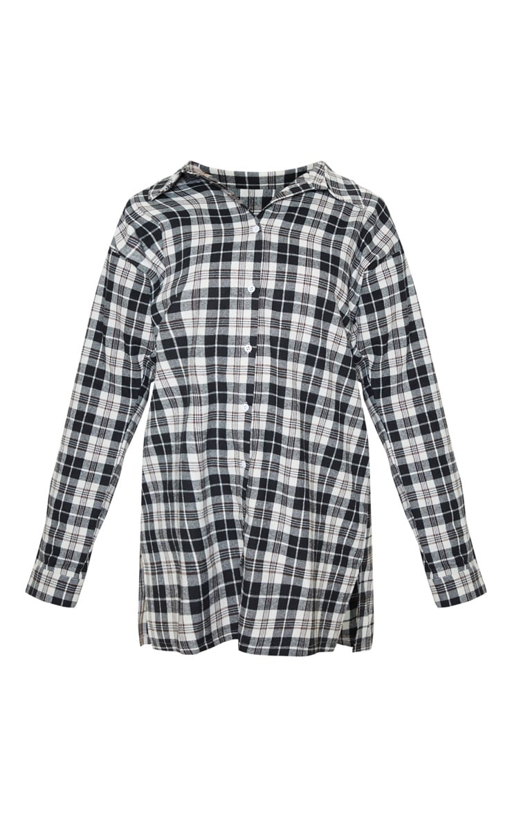 PRETTYLITTLETHING Black Slogan Checked Shirt Dress 4