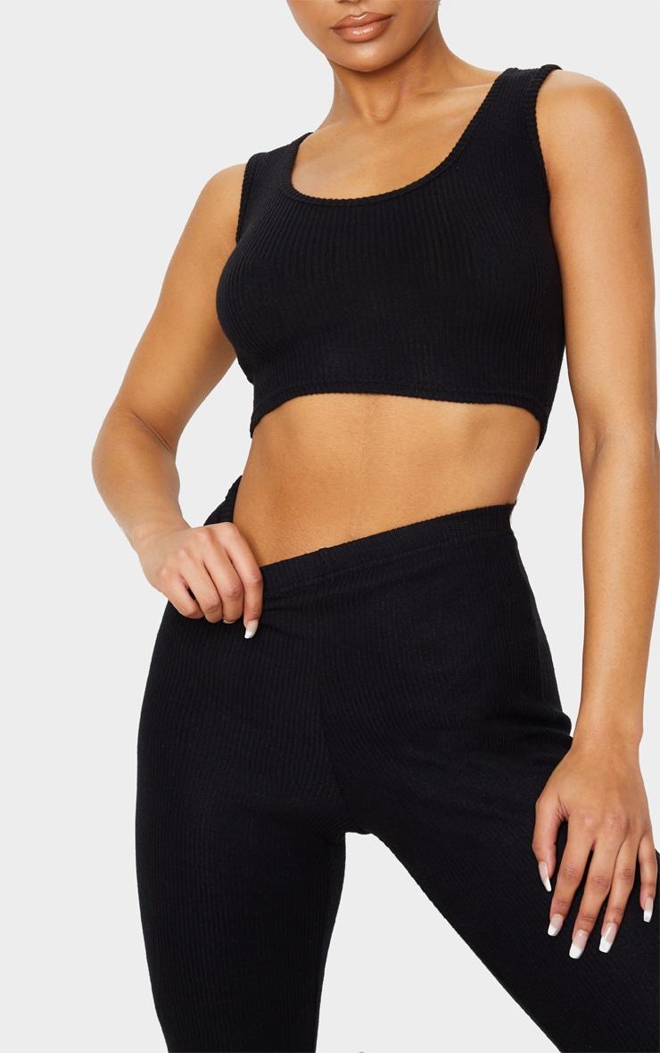 Black Brushed Rib High Waisted Flared Trouser 5