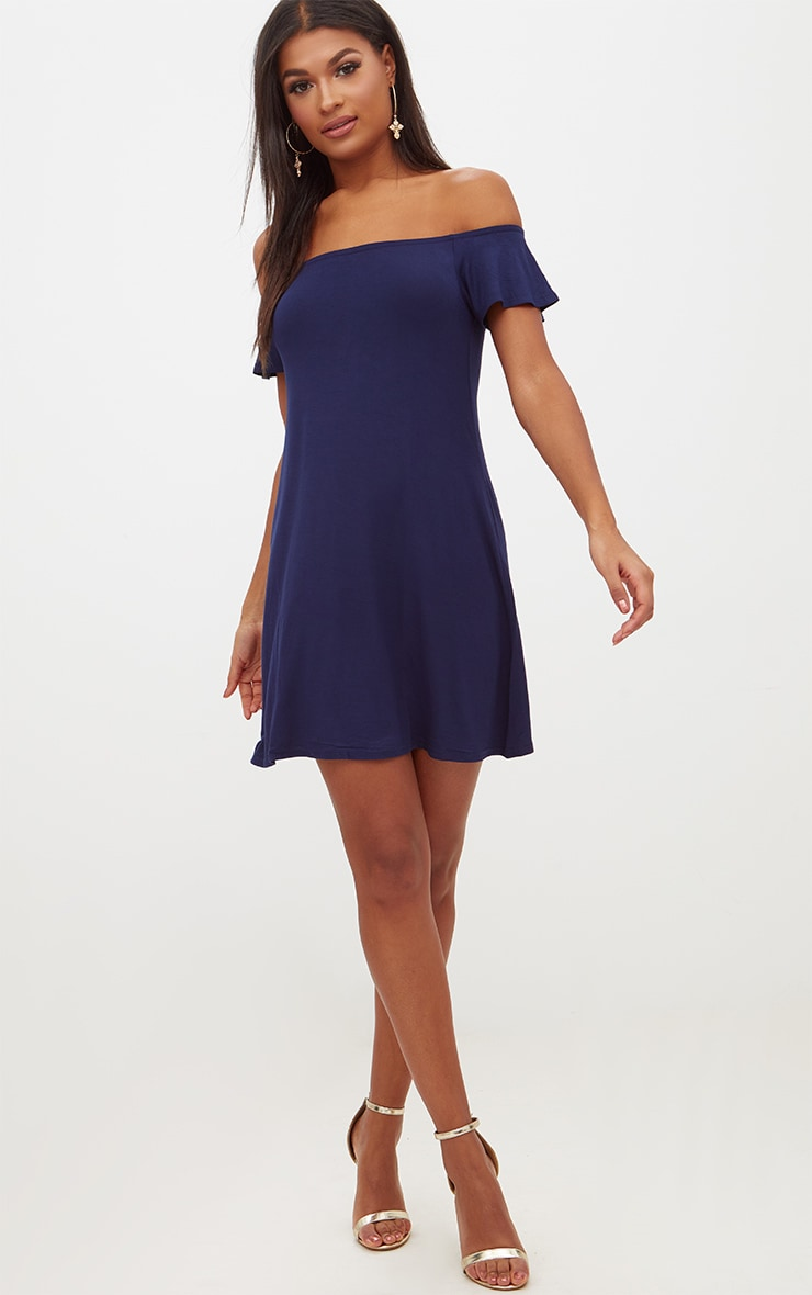 Basic Navy Jersey Bardot Shift Dress 4