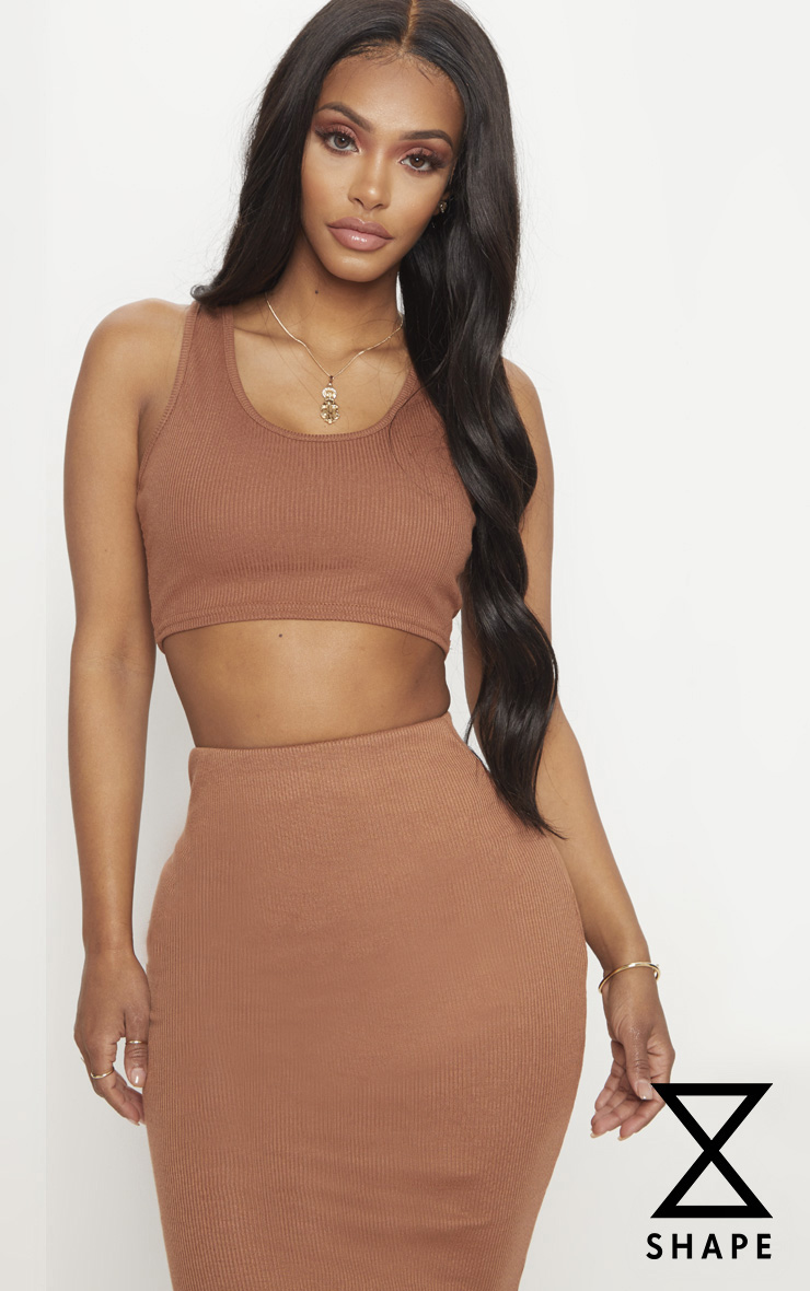 Shape Brown Ribbed Sleeveless Crop Top 1