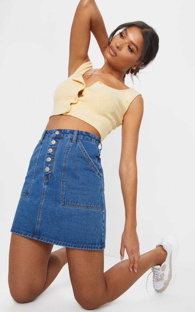 Mid Blue Wash Button Up Denim Skirt 4