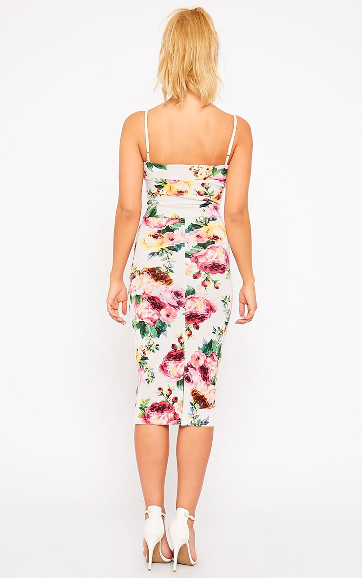 Edrie White Floral Midi Dress 2