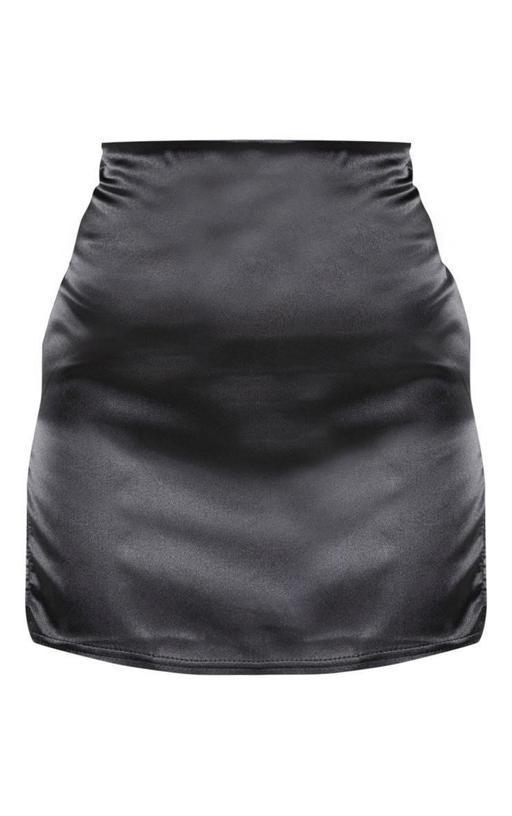 Black Satin Extreme Side Split Mini Skirt 2