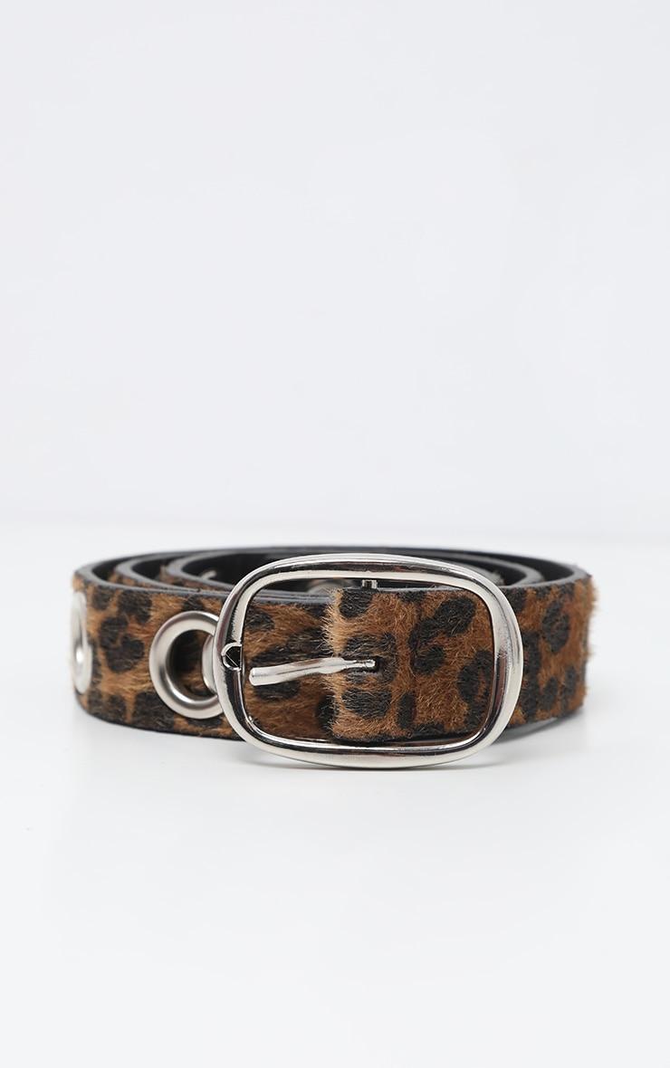 Brown Leopard Faux Pony Hair Eyelet Waist Belt 2