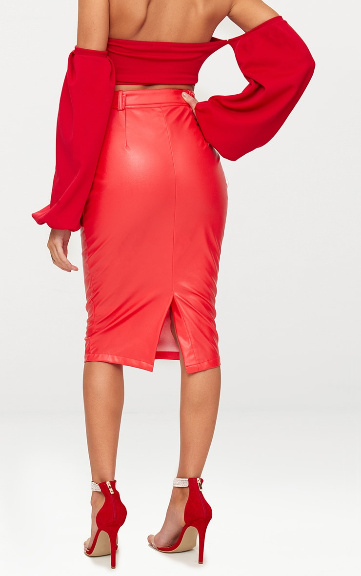 Red Faux Leather Belt Midi Skirt 4