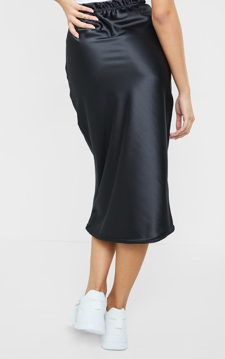 Black Satin Bias Cut Midi Skirt 3