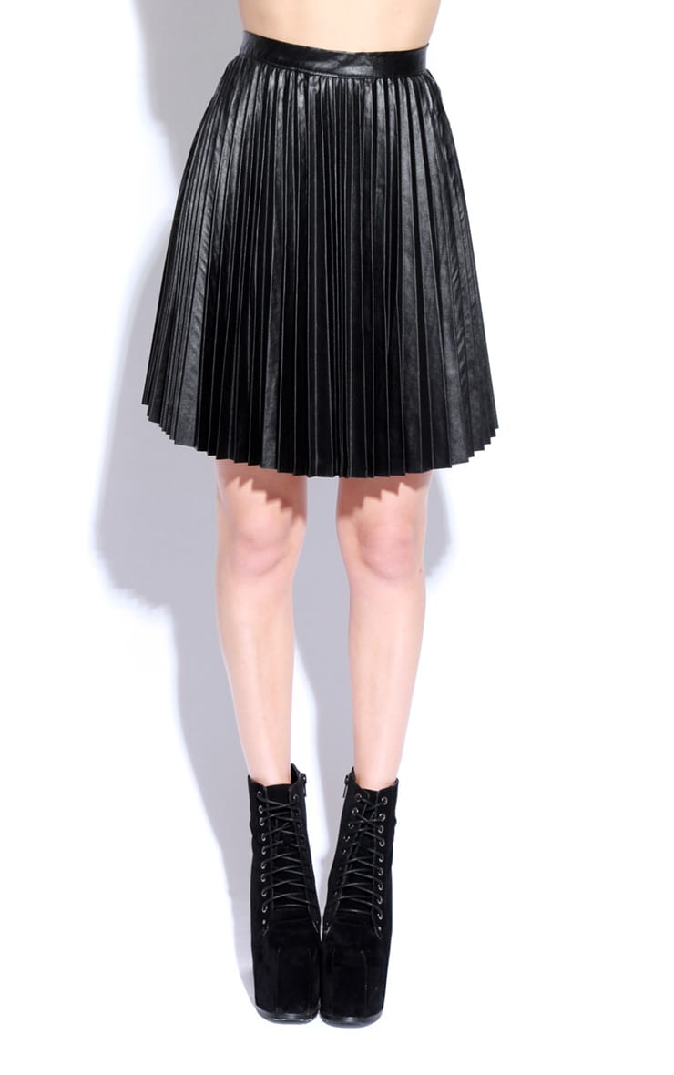 Black Wet Look Pleated Skater Skirt 3