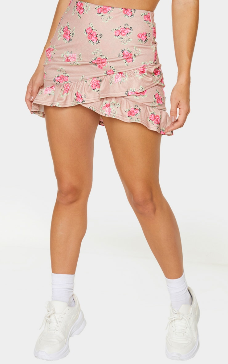 Brown Floral Printed Frill Detail Wrap Mini Skirt 2