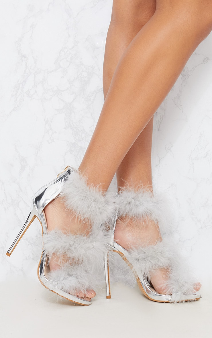 Silver Feather Triple Strap Sandal 1