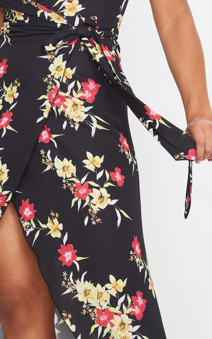 Black Floral Wrap Tie Waist Maxi Dress 3