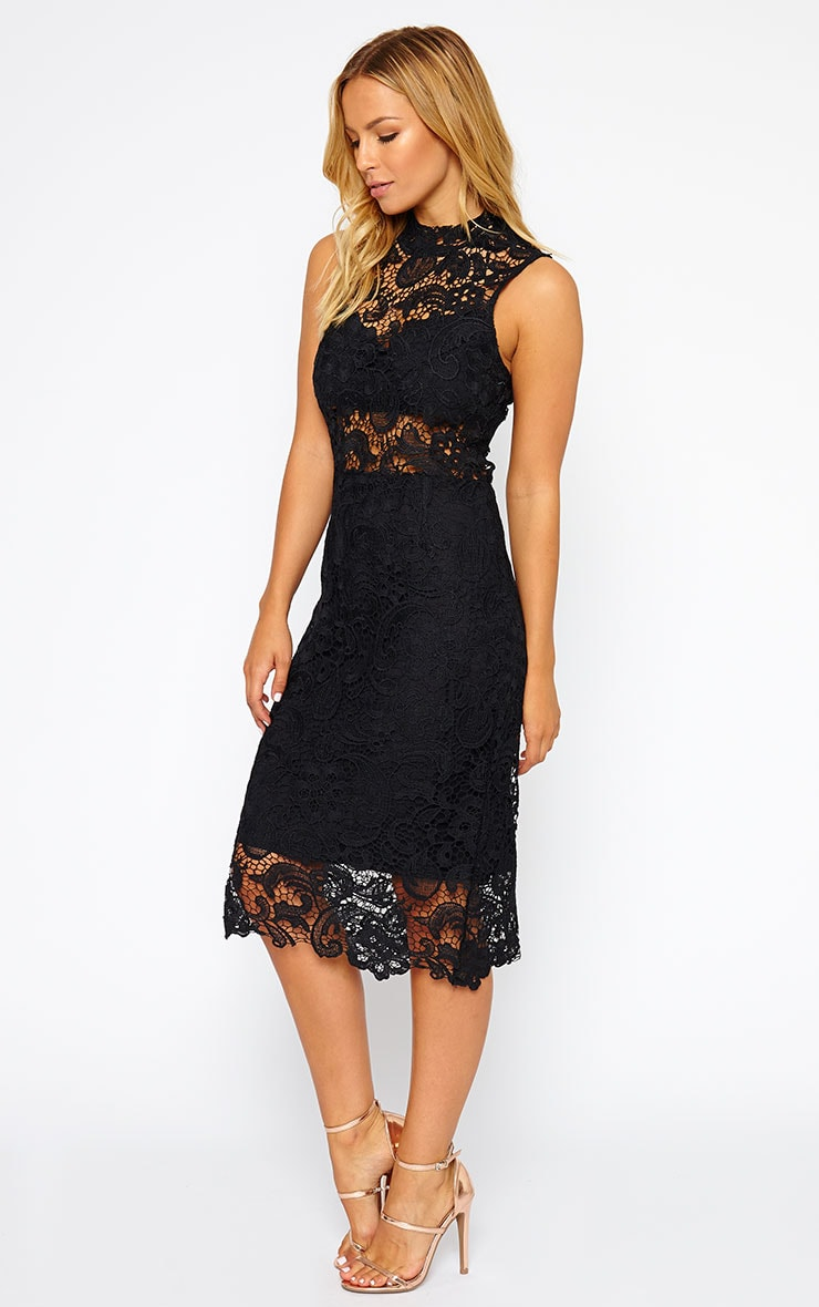 Lena Black Lace Midi Dress 3